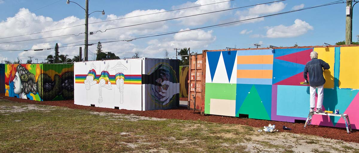 west beach outdoor museum shipping container art