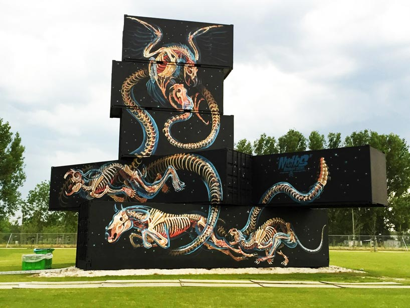 installation by nychos shipping container art