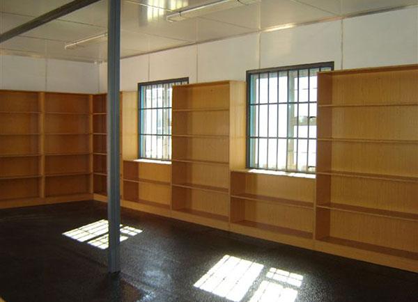 wooden library shelves
