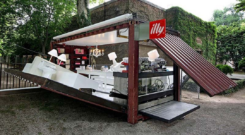 illy push button container coffee shop