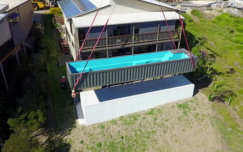 shipping container pool transport