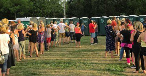 queue loo bathroom sports event