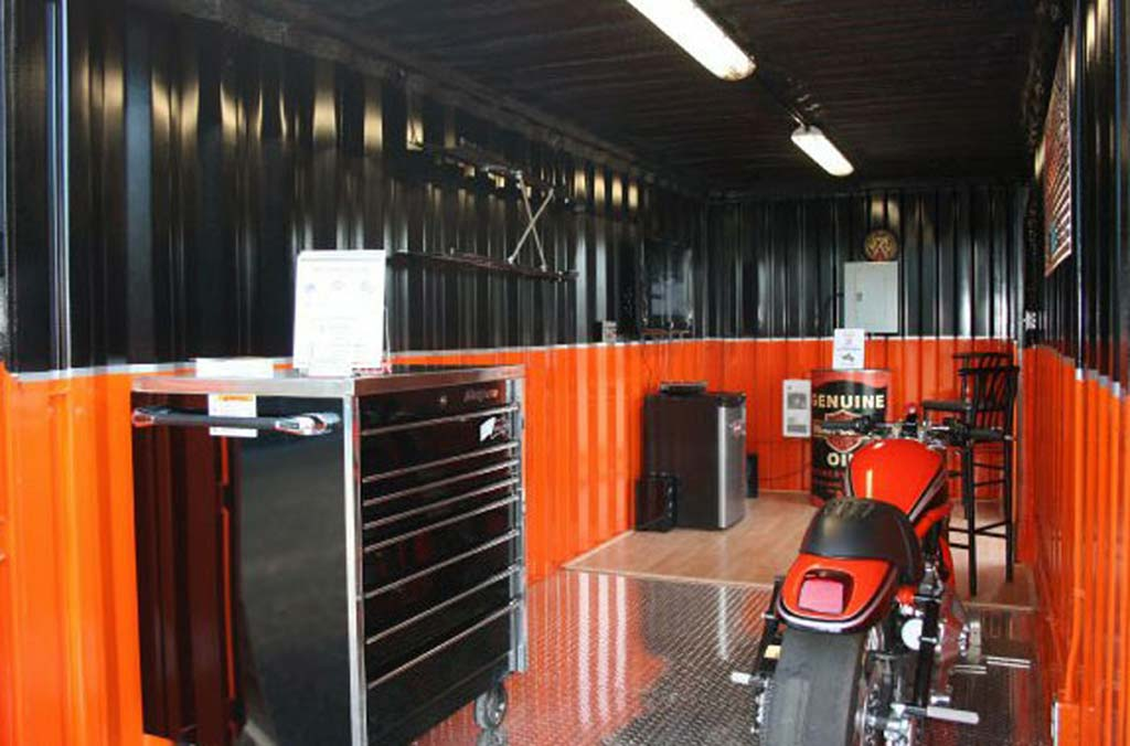shipping container garage harley davidson