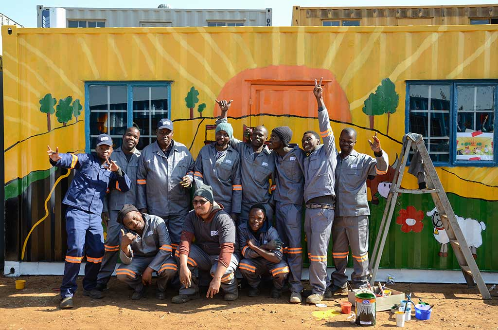 mandela day big box containers creche painting