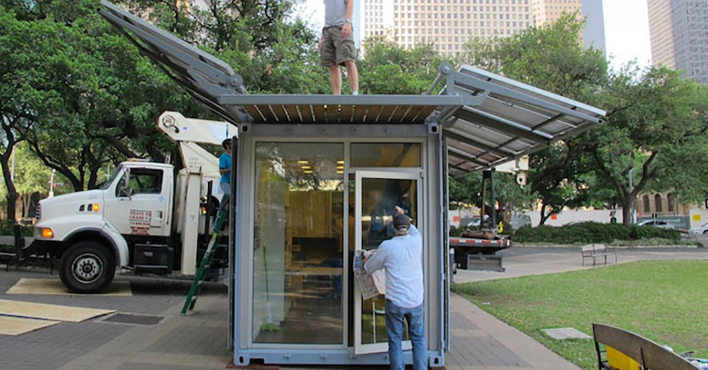 Solar-power shipping container